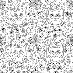 Vector owl, butterfly and flowers doodle seamless pattern.