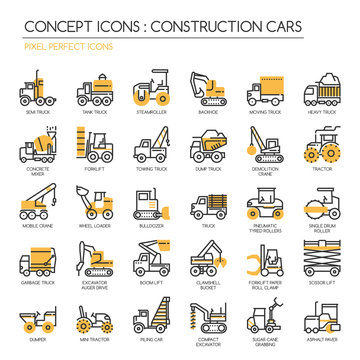 Construction Cars , thin line icons set , Pixel Perfect Icons