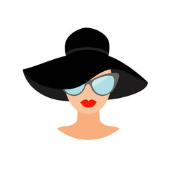 Woman in black hat and sun glasses Avatar people icon collection Cute cartoon character Beautiful face red lips Female head sunglasses Women wearing eyeglasses Flat White background. Isolated.