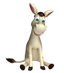 cute  Donkey cartoon characterwith sitting down