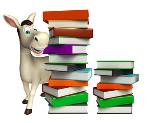 fun Donkey cartoon character with book stack