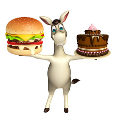fun  Donkey cartoon character with burger and cake