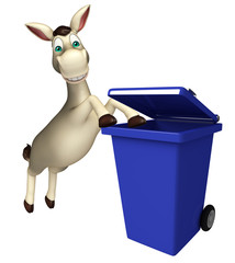 cute Donkey cartoon character with dustbin