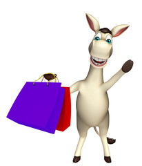 Donkey cartoon character Donkey cartoon character with shopping