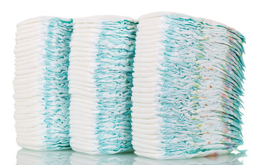 Stacks of diapers isolated on white.