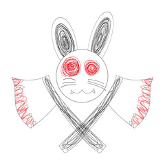 Blood White Rabbit with Axe Logo. Doodle Rabbit, Drawing Rabbit Logo. Rabbit Face. Cartoon Rabbit.White Rabbit. Rabbit Vector. Rabbit Illustraion. Halloween's Day.