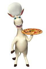 Donkey cartoon character with pizza and chef hat