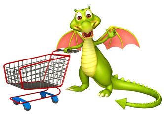 cute Dragon cartoon character with trolly