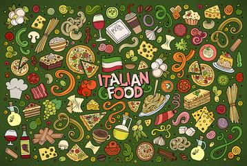 Colorful vector hand drawn doodle cartoon set of italian food ob