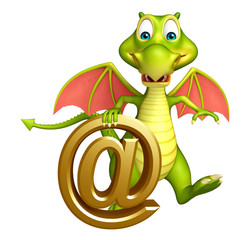 fun Dragon cartoon character with at the rate sign