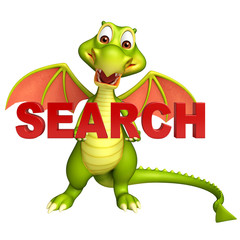 fun Dragon cartoon character with search sign