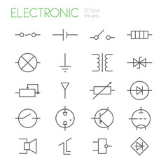 Electronic components line gray icons