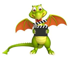 fun Dragon cartoon character with clapper board