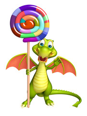 fun Dragon cartoon character  with lollypop