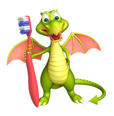 fun Dragon cartoon character with toothbrush