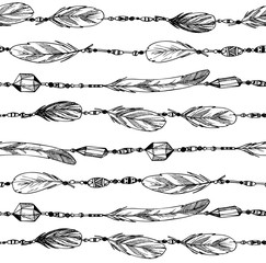 Hand drawn illustration. Seamless pattern with feathers and bead