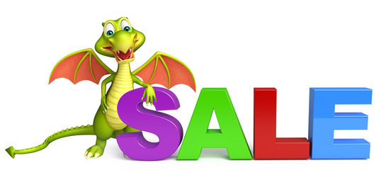 Dragon cartoon character with big sale sign