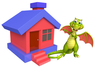 Dragon cartoon character with home