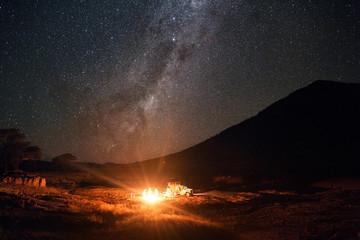 Feu de camp sous une nuit étoilée