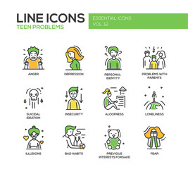 Teen problems- line design icons set