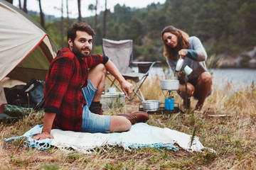 Couple enjoying camping