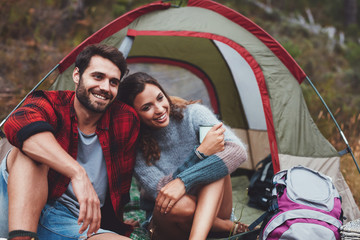 Couple spending quality time together on camping holiday