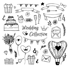 Hand Drawn vector Wedding collection. Perfect for invitations, g