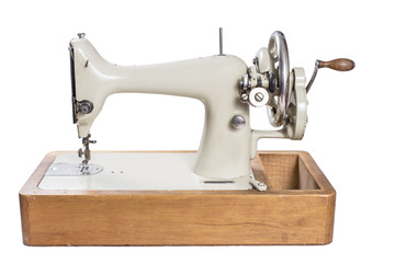Antique  Sewing Machine isolated on white