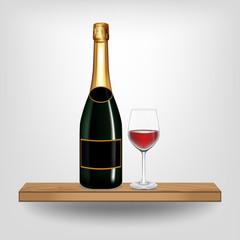 Bottle green wine and glass on wood shelf