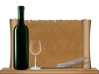 Bottle wine and Old vintage scroll on wood shelf