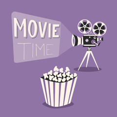 Movie time poster. Cartoon vector illustration. Film projector and popcorn