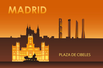 Cybele palace in the night Madrid