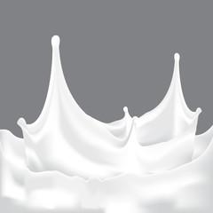 A splash of milk with grey background