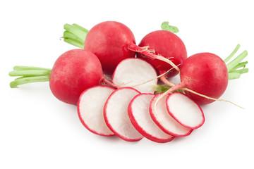 Red sliced radish isolated on white background