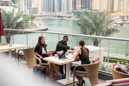 Business meeting outdoors