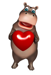 cute Hippo cartoon character   with heart