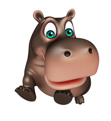jumping Hippo cartoon character
