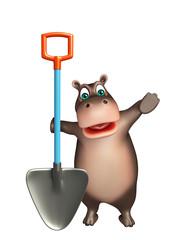 fun Hippo cartoon character with shovel