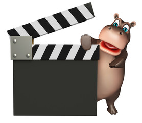 fun Hippo cartoon character with clapboard