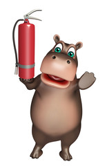 Hippo cartoon character with fire  extinguisher