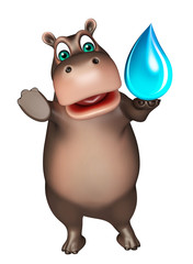 Hippo cartoon character with water drop