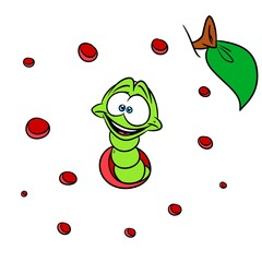 Worm insect animal cartoon illustration worm-eaten apple background