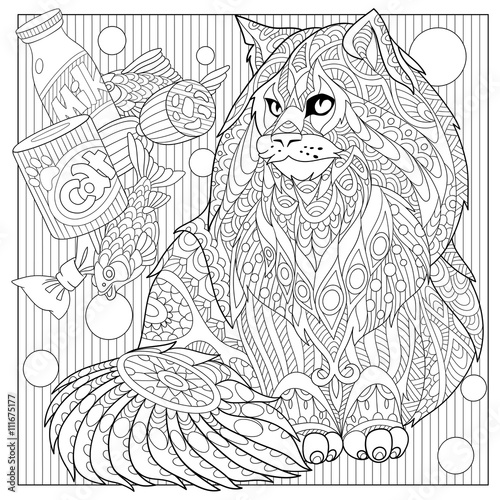 Zentangle Stylized Cartoon Maine Coon With Cat Food Hand Drawn