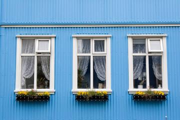A blue house, Iceland.