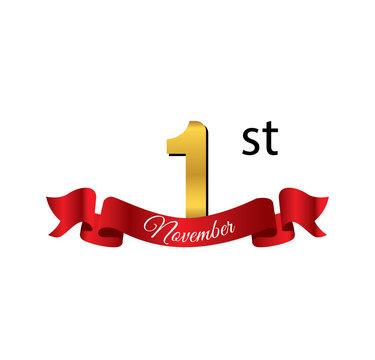 1 november golden calendar with red ribbon