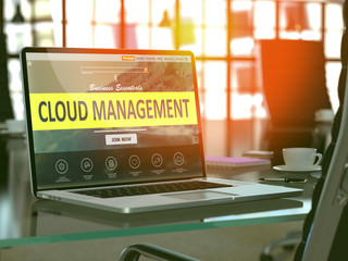Cloud Management Concept Closeup on Laptop Screen in Modern Office Workplace. Toned Image with Selective Focus. 3d Rendering.
