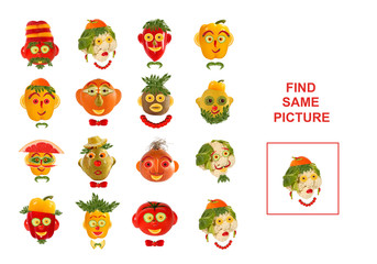 Cartoon  Illustration of Finding the Same Picture.  Educational
