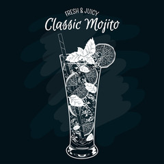 Vector illustration of fresh and salty drink: alcoholic cocktail classic mojito.