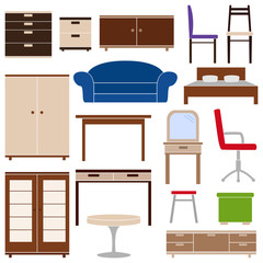 Set of furniture icons, vector illustration