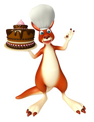 Kangaroo cartoon character  with cake and chef hat